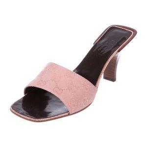 GUCCI Guccissima Pink Canvas Monogram Slide Sandal